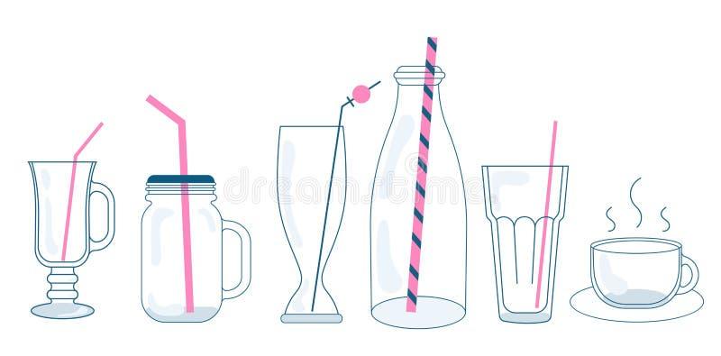 Ensemble d'illustration de vecteur de verres et de bouteilles pour des boissons Pots, tasses et verres avec les pailles à boire U illustration de vecteur