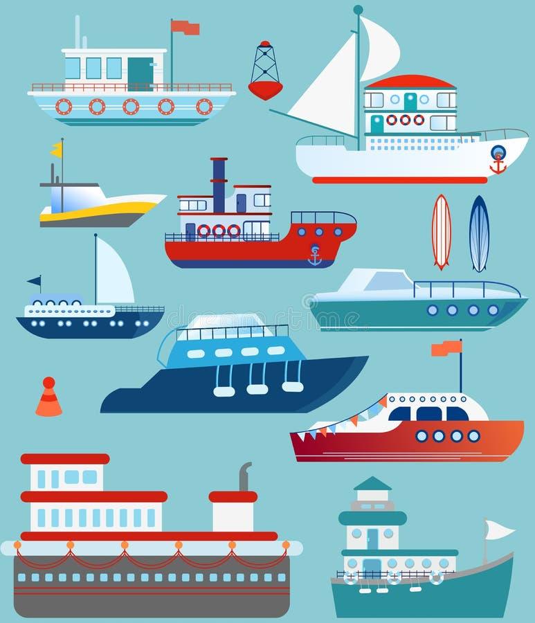 Ensemble d'illustration de vecteur de yacht plat, bateau, cargo, paquebot, ferry, bateau de pêche, vraquier, navire, bateau illustration libre de droits