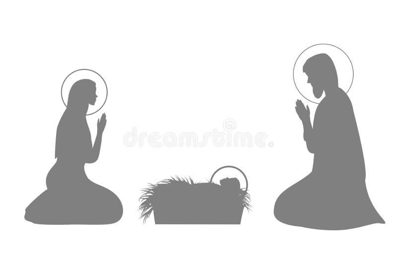 Ensemble d'illustration d'histoire de Jesus Christ avec la silhouette de Jésus de Mary, de Joseph et de bébé illustration stock