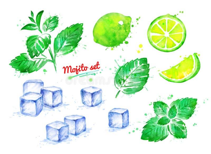 Ensemble d'illustration d'ingrédients de Mojito illustration libre de droits
