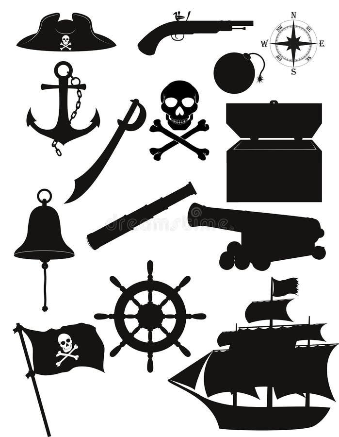 Ensemble d'illustration noire de vecteur de silhouette d'icônes de pirate illustration de vecteur