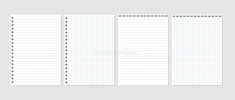 Ensemble d'illustration réaliste de vecteur des pages blanches de la place et du papier rayé d'un bloc d'isolement illustration de vecteur