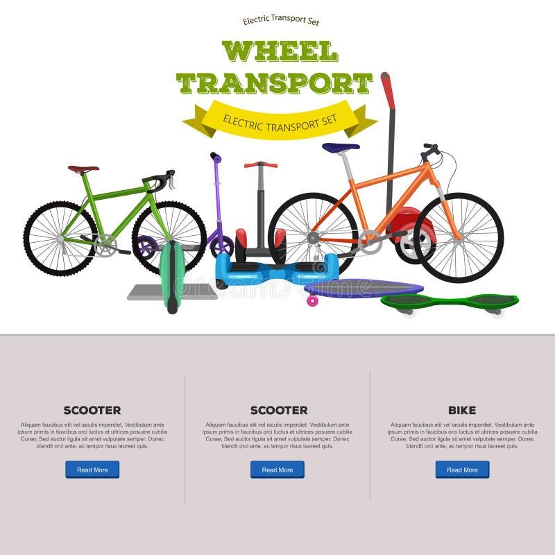 Ensemble d'illustrations électriques de Auto-équilibrage un-à roues et à deux roues de vecteur de scooter illustration de vecteur