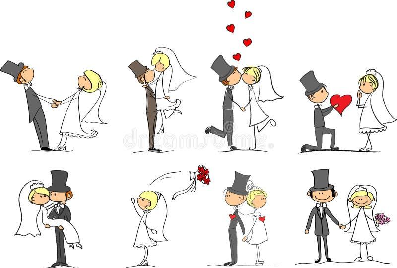 Ensemble d'illustrations de mariage illustration de vecteur