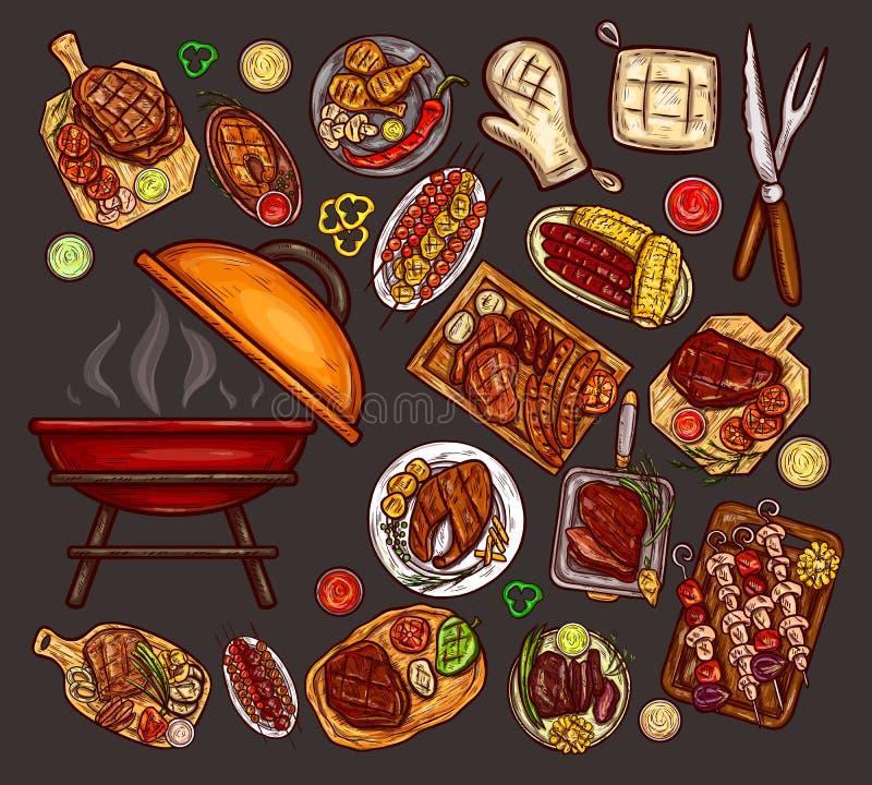 Ensemble d'illustrations de vecteur, éléments pour le barbecue illustration libre de droits