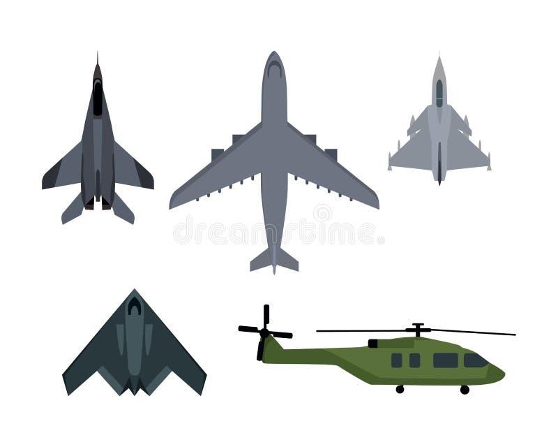 Ensemble d'illustrations de vecteur d'avions militaires illustration de vecteur