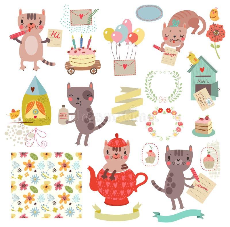 Ensemble d'illustrations et de caractères mignons Chats, oiseaux, modèle floral, lettre illustration de vecteur