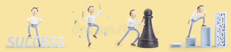 Ensemble d'illustrations 3d L'homme d'affaires Jimmy va au succès illustration libre de droits