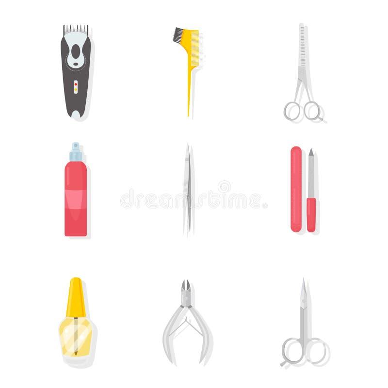 Ensemble d'illustrations d'outils de raseur-coiffeur et de manucure illustration de vecteur
