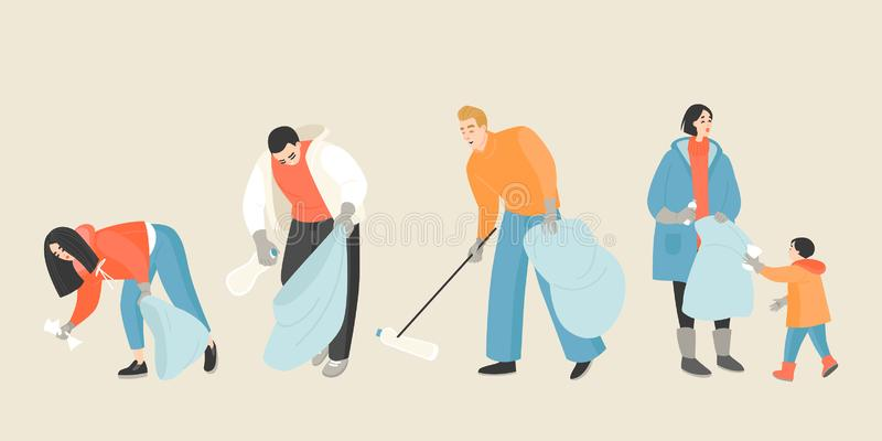 Ensemble d'illustrations vectorielles de personnes ramassant des ordures illustration stock