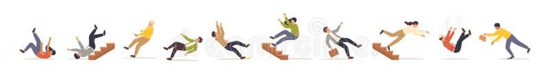 Ensemble d'illustrations vectorielles plates de personnes en chute libre Des hommes et des femmes qui trébuchent et tombent dans  illustration de vecteur