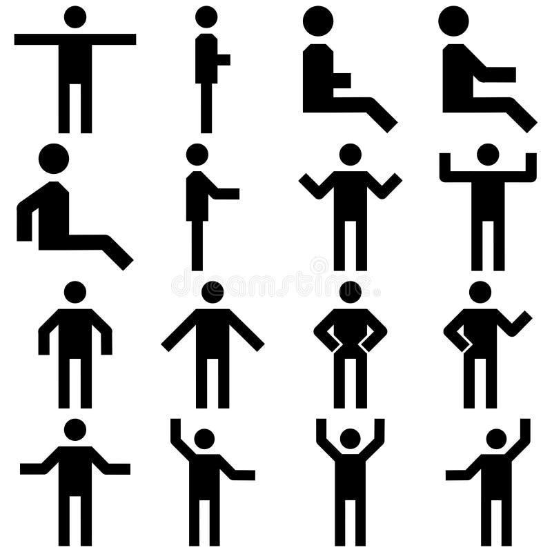 Ensemble d'image de vecteur d'icônes de personnes de posture illustration stock