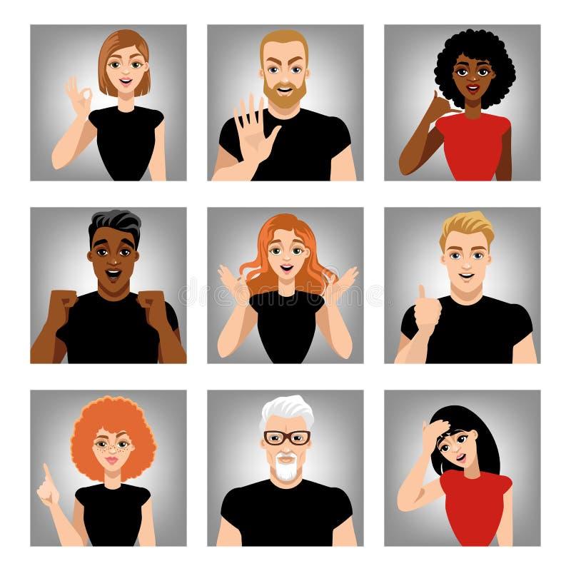 Ensemble d'images de vecteur des personnes avec différentes émotions Avatars dans le style de bande dessinée illustration libre de droits