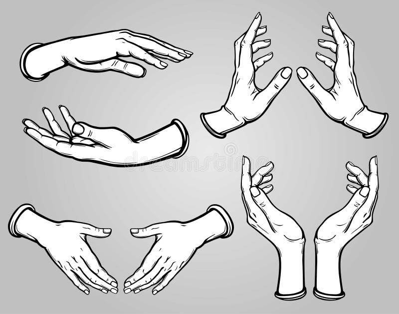 Ensemble d'images des mains humaines dans différentes poses illustration de vecteur