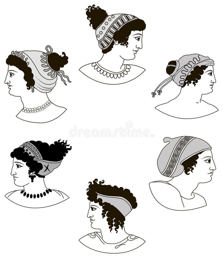 Ensemble d'images des têtes de femmes du grec ancien photographie stock