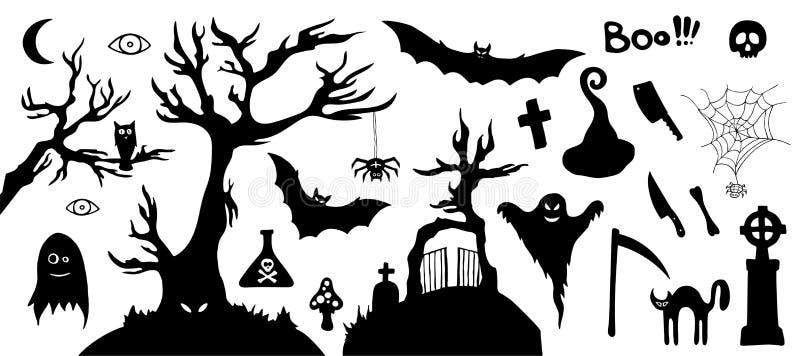 Ensemble d'images d'horreur de silhouette d'un Halloween photos libres de droits