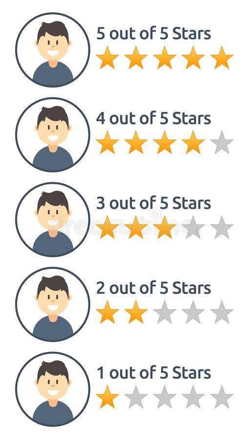 Ensemble d'images masculines d'estimation d'étoile d'utilisateur illustration stock