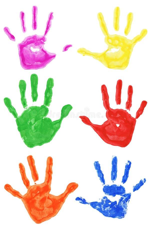 Ensemble d'impressions colorées de main d'isolement images libres de droits