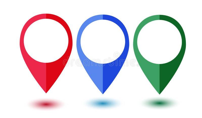 Ensemble d'indicateurs colorés de carte images libres de droits