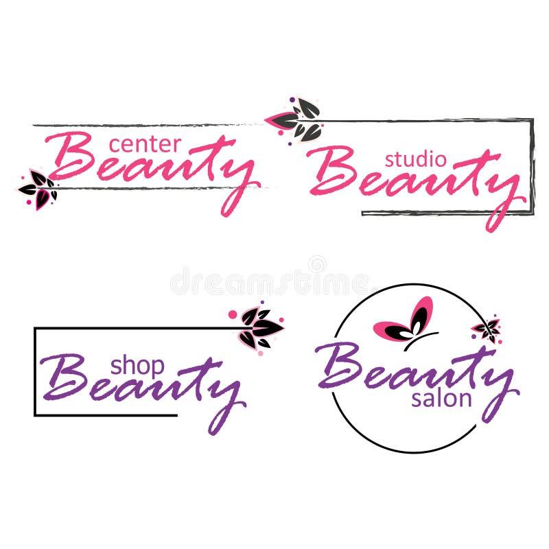 Ensemble d'industrie de beauté Logos pour le salon, le centre et le studio de beauté illustration stock