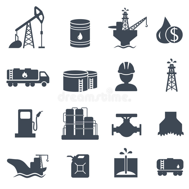 Ensemble d'industrie pétrolière grise d'icônes de pétrole et de gaz illustration libre de droits