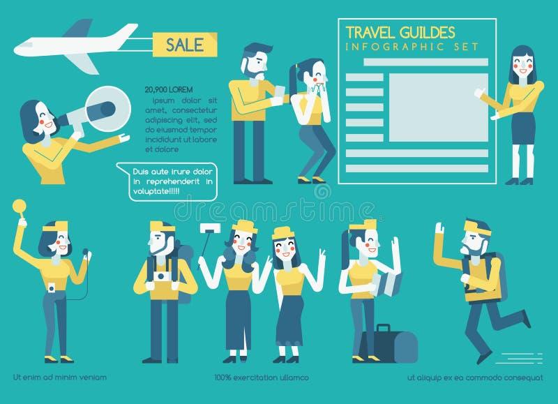 Ensemble d'Infographic de guides de voyage illustration stock