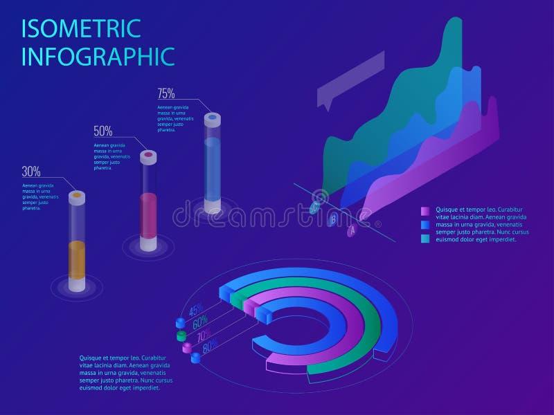 Ensemble d'infographics avec les graphiques ou les diagrammes financiers de données, la statistique de données de l'information e illustration stock