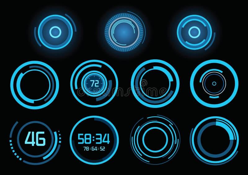 Ensemble d'infographics bleu futuriste illustration de vecteur