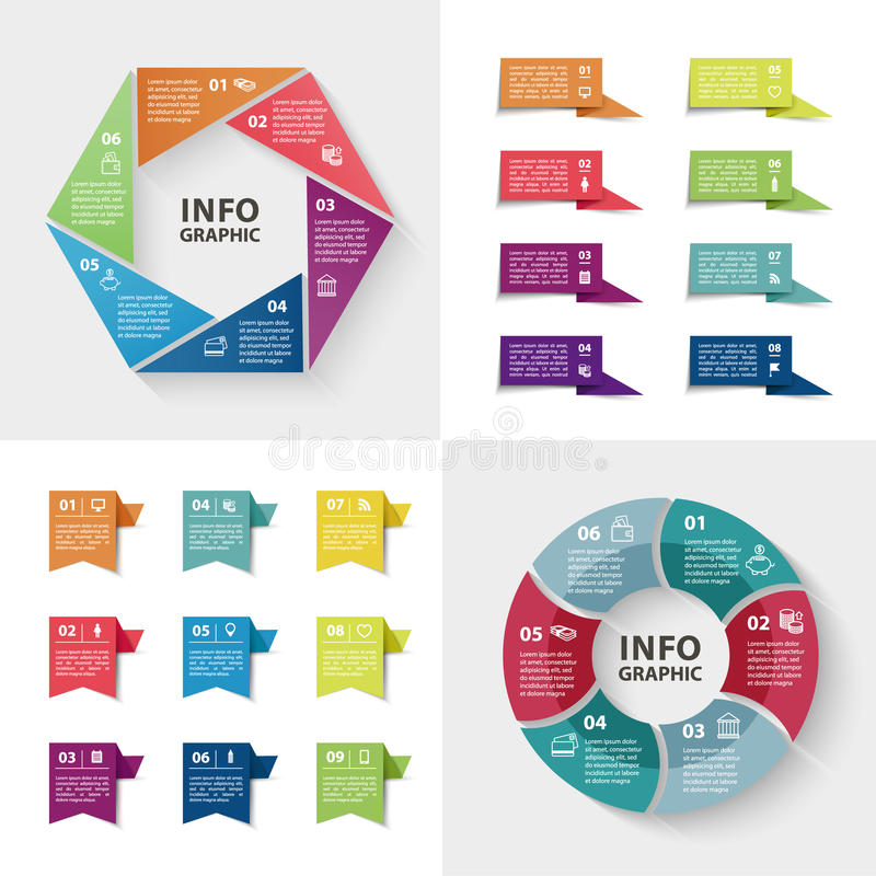 Ensemble d'infographics d'Ector Collection de calibres colorés pour le diagramme de cycle, le graphique, la présentation et le di illustration stock