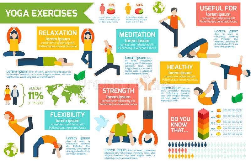 Ensemble d'infographics de yoga illustration libre de droits