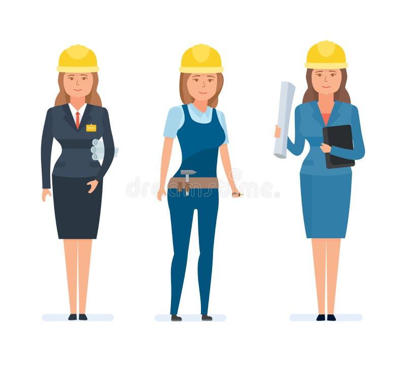 Ensemble d'ingénieurs et de concepteurs de filles, dans des combinaisons marquées, uniformes illustration stock