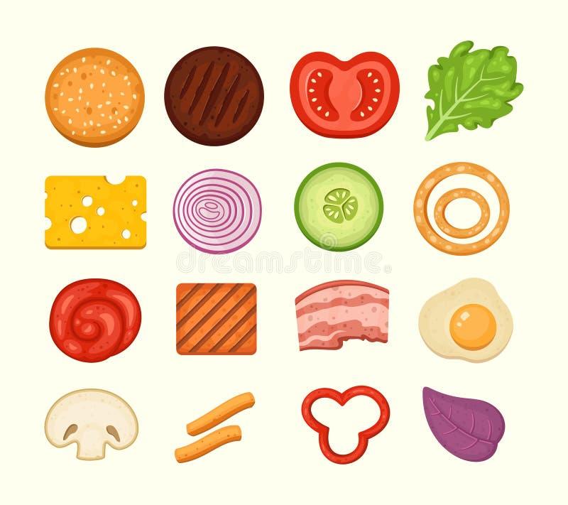 Ensemble d'ingrédients d'hamburger d'icônes de vecteur dans le style midern de bande dessinée Vue supérieure de constructeur d'ha illustration stock