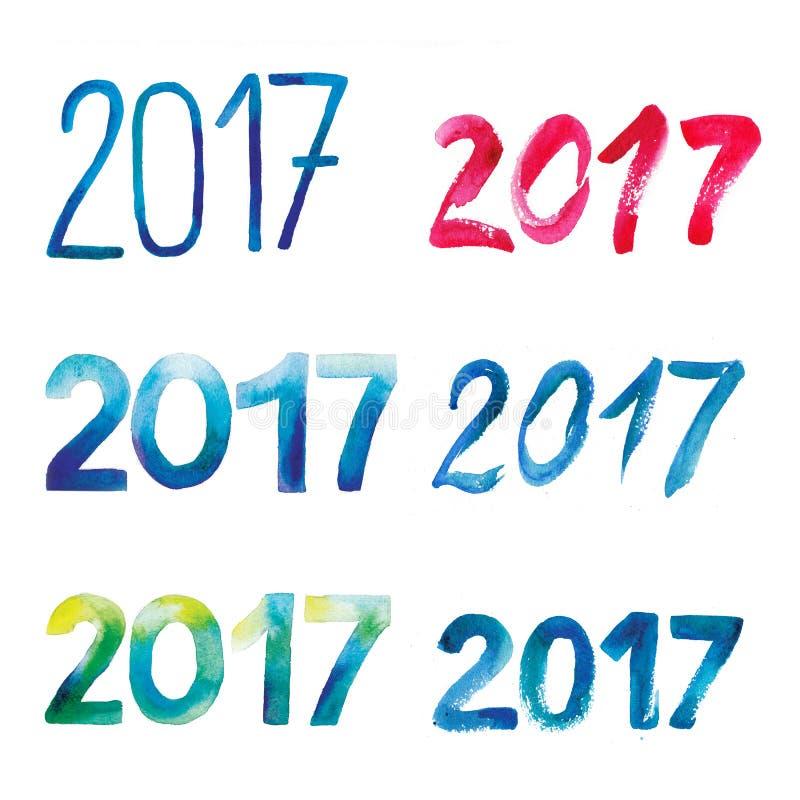 Ensemble d'inscriptions 2017 d'aquarelle sur le fond blanc illustration stock
