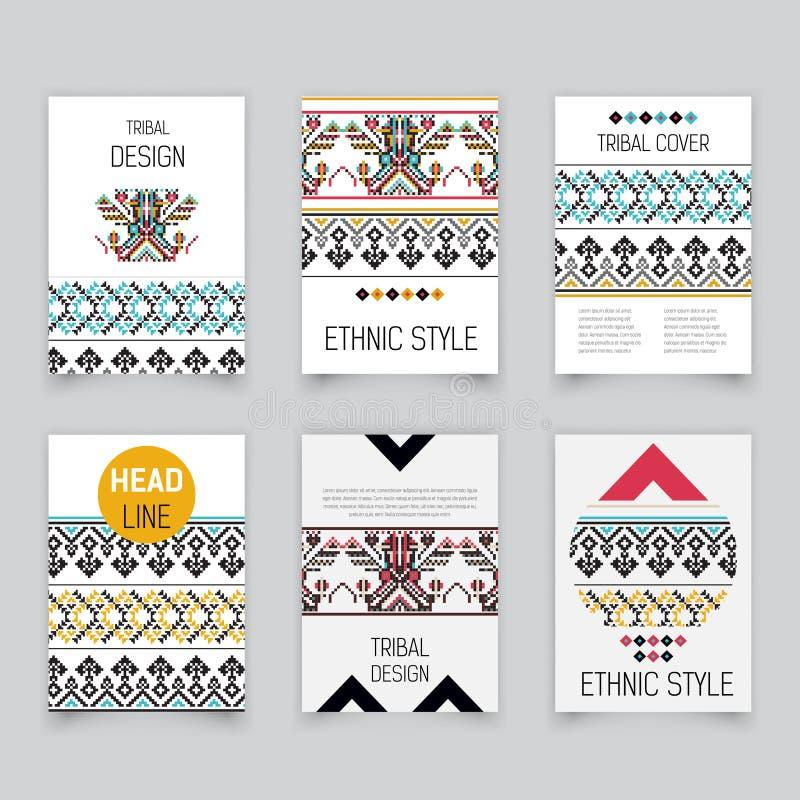 Ensemble d'insectes aztèques tribals géométriques de pixel, calibres de brochure, carte d'éléments de conception, modèle moderne, illustration de vecteur