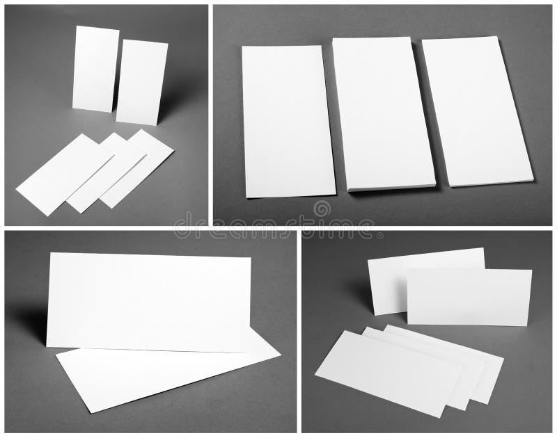 Ensemble d'insectes blancs vides au-dessus de fond gris Conception d'identité photographie stock