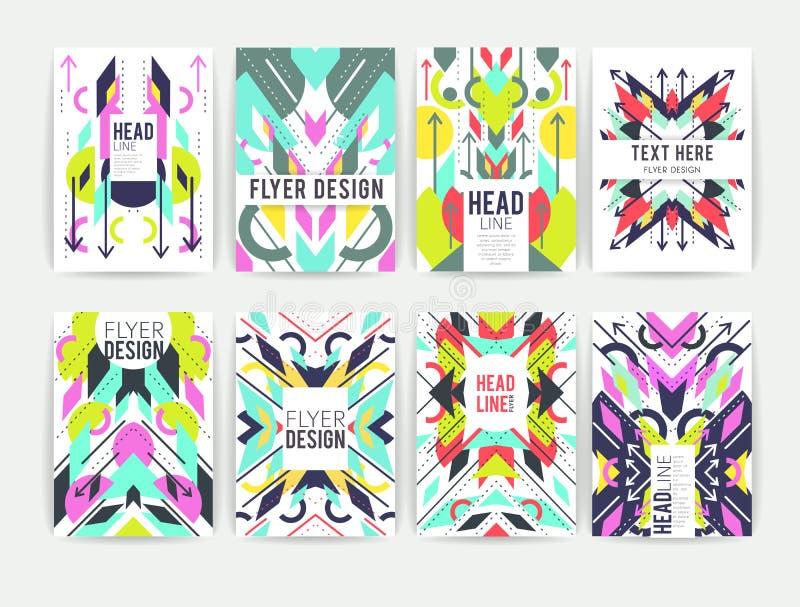 Ensemble d'insectes colorés abstraits géométriques illustration stock