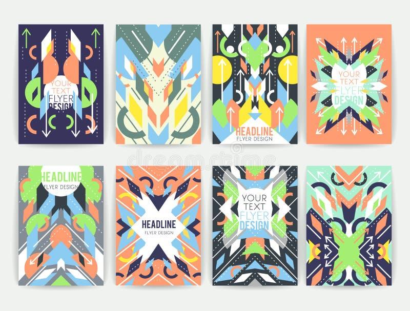 Ensemble d'insectes colorés abstraits géométriques illustration de vecteur