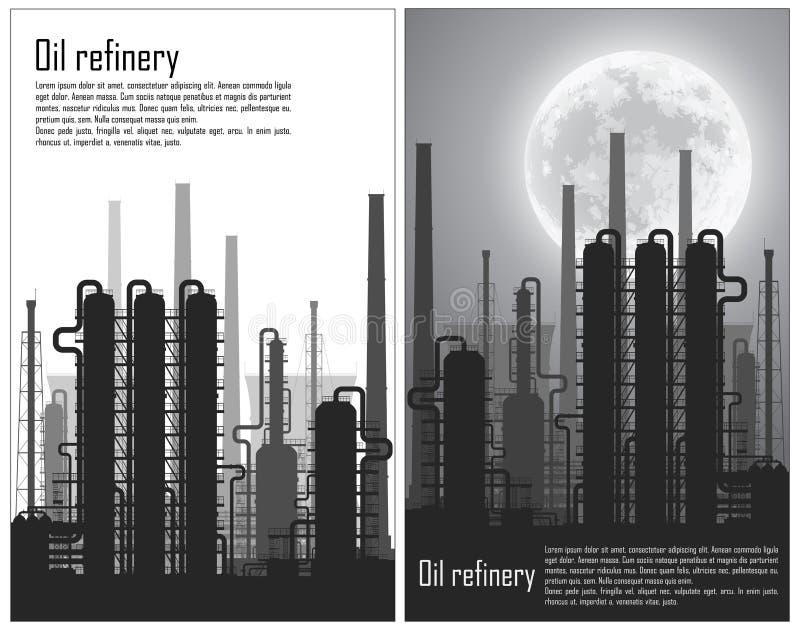 Ensemble d'insectes de raffinerie de pétrole et de gaz illustration stock