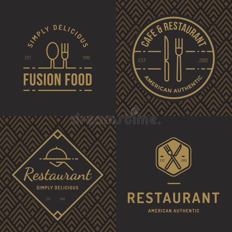 Ensemble d'insignes, bannière, labels et logos pour le restaurant de nourriture, boutique de nourritures et restauration avec le  illustration stock