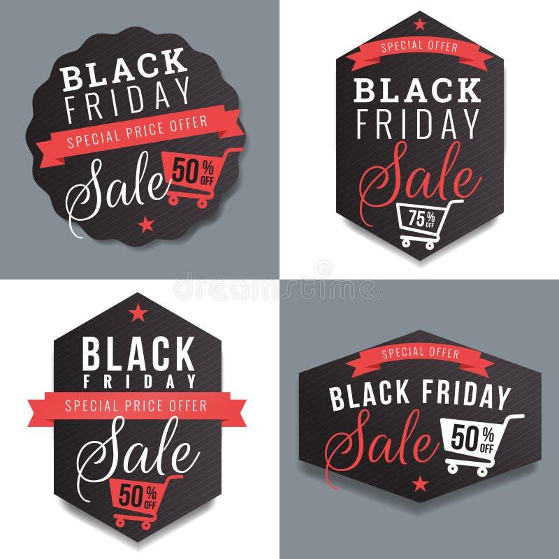 Ensemble d'insignes, de bannière, de labels en vente noire de vendredi et de calibre de remise Éléments de conception illustration libre de droits