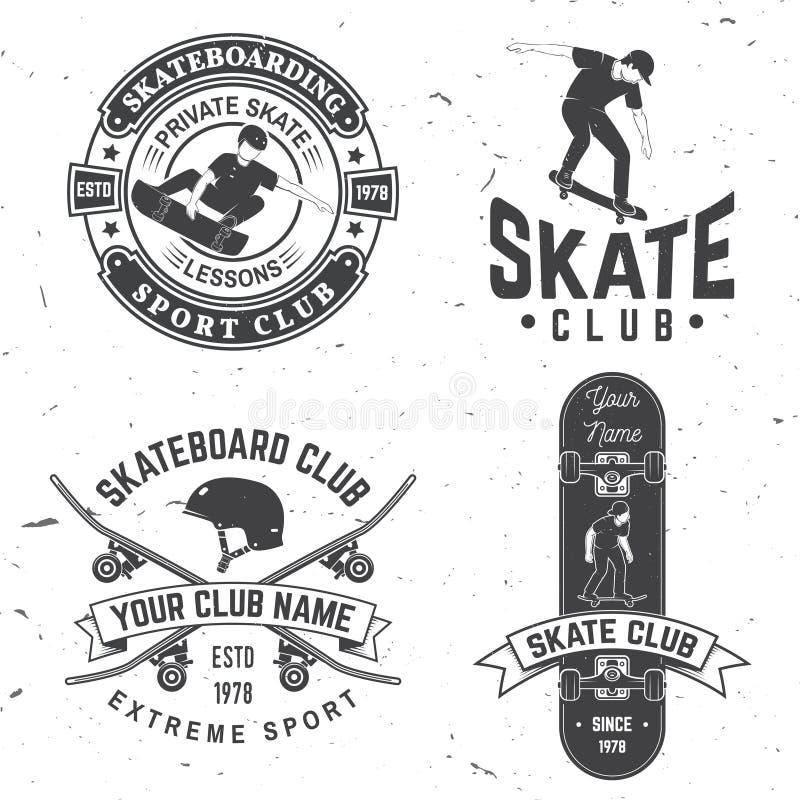 Ensemble d'insignes de club de planche à roulettes Illustration de vecteur illustration de vecteur