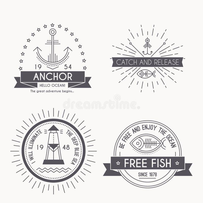 Ensemble d'insignes, de labels et de logos nautiques de navigation illustration de vecteur
