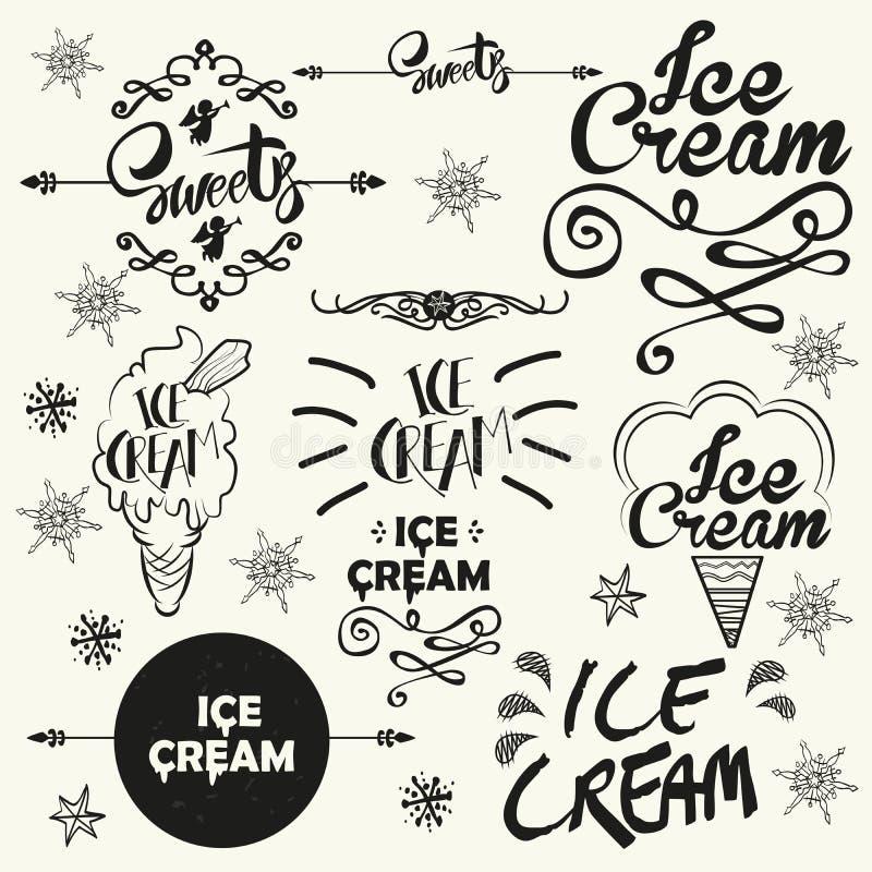 Ensemble d'insignes de logo de boutique de crème glacée de vintage et illustration libre de droits
