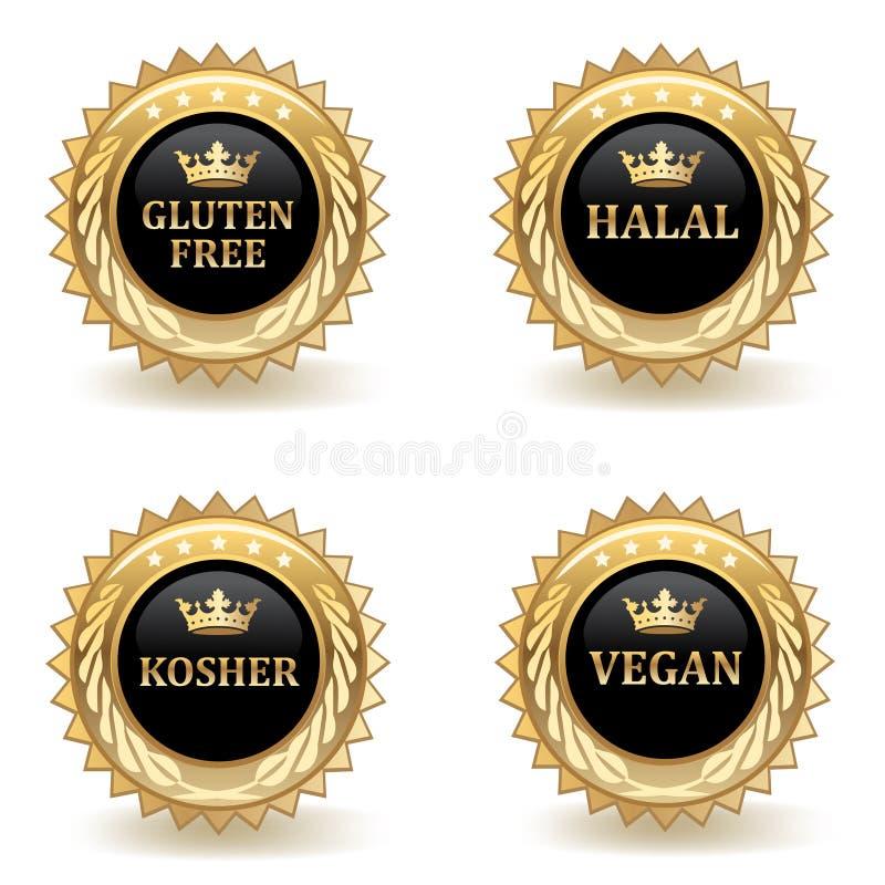 Ensemble d'insignes de nourriture d'or illustration stock