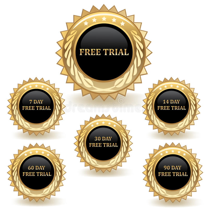 Ensemble d'insignes de procès d'or illustration libre de droits