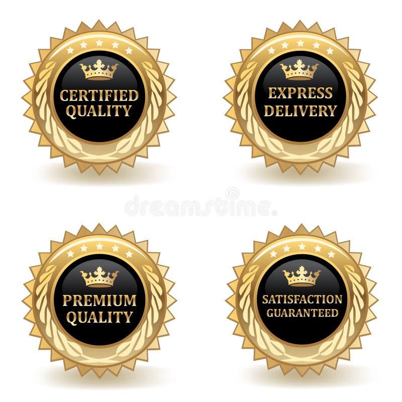 Ensemble d'insignes de qualité d'or illustration stock