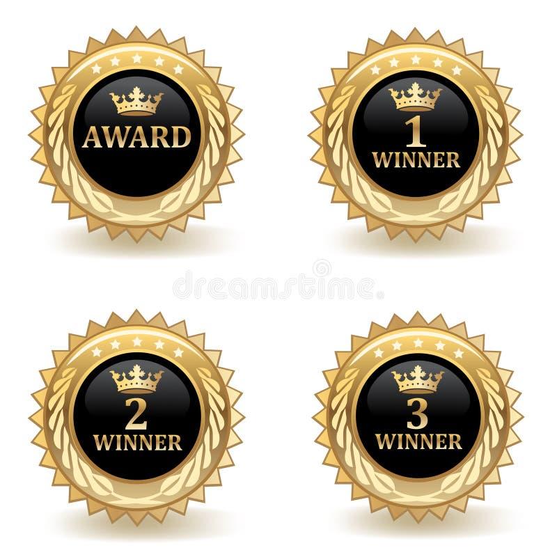 Ensemble d'insignes de récompense d'or illustration de vecteur