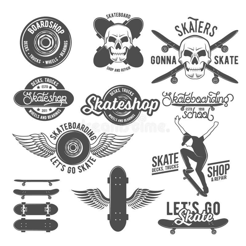 Ensemble d'insignes de vintage avec la planche à roulettes illustration stock
