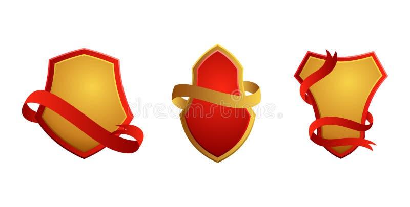 Ensemble d'insignes de vintage Boucliers avec des rubans Vente, qualit? de la meilleure qualit?, le meilleur choix, labels origin illustration de vecteur