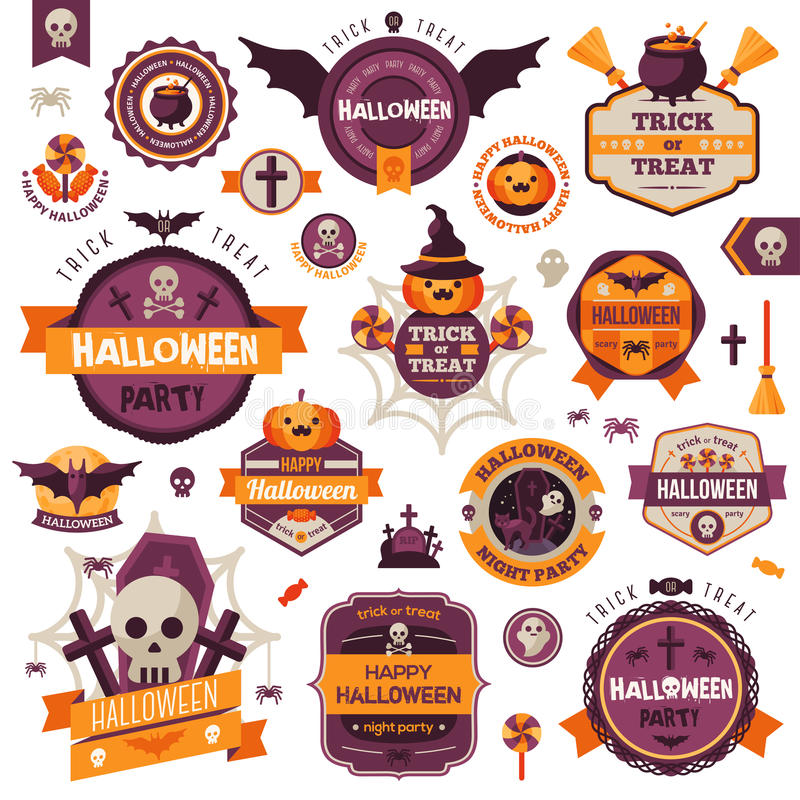 Ensemble d'insignes et de labels heureux de Halloween de vintage illustration stock